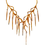 "Post 1955 Vendome ""Bolder and Gold Line"" Retro Couture Necklace"
