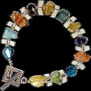 OOAK Davison Loaded with Gemstones Sterling Silver Bracelet