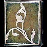 Vintage Heintz Sterling on Bronze Cedar Lined Cigarette Box Coveted Verde Patina