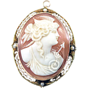 Antique Goddess Nike Cameo in 14k Rose Gold and Seed Pearls Pendant Brooch