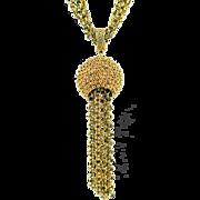 Corocraft Bold Statement Tasseled Pendant Necklace ca 1950