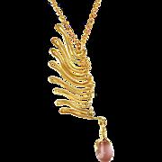 OOAK  Davison Brass and 18K Accented Art Glass Bead Wing Pendant