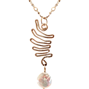 OOAK Davison Sterling Silver Wing Pendant with Coin Pearl Appointment