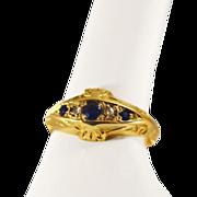 ca 1907 Chester Hallmarked  18K Gold Diamond, Sapphire Ring