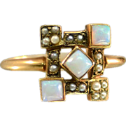 SALE PENDING Antique 14K Rose Gold Seed Pearls and Opals Ring