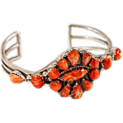 Classic Sterling Silver and Apple Coral Cuff Bracelet