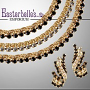 Dazzling Hobe Demi Parure with Clear and Black Rhinestones