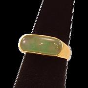 Vintage 14 Karat Gold and Jade Modernist Ring