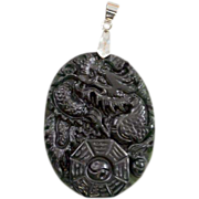 "Vintage Carved Chinese Dragon ""Black Jade"" Pendant with I Ching Symbol"