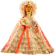 Extraordinary Vintage Chalkware Infant of Prague Statue With Lace Robe and Crown