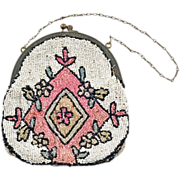 Darling Belgium Hand-Beaded Purse in Pink and Beige