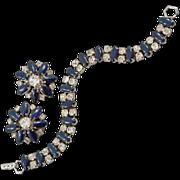 Sophisticated Vintage Bracelet and Earring Set with Blue Rhinestones