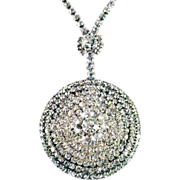 Vintage HUGE Showstopping Brilliant Rhinestone Medallion Necklace