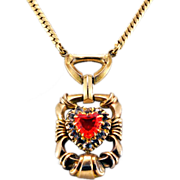 Super-Unique Vintage 10K Gold Fill and Paste Rhinestone Necklace