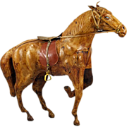 Leather-Wrapped Horse Sculpture