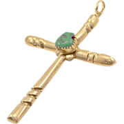 """Incredible Vintage Sterling Silver and Turquoise Cross Pendant  3"""" Tall"""