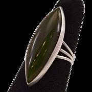 Vintage Sterling Ring With HUGE Dark Green Jade Stone