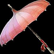 SALE PENDING ca. '30s '40s Salmon Colored Pagoda-Style Umbrella