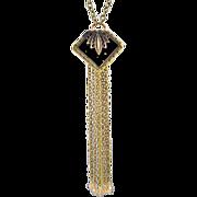 Sexy OOAK Davison Vintage Black Belt Buckle Necklace with Chain Tassel