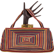 Gorgeous Multi-Colored Rare Cordé Handbag With Lucite Catch - 1940's