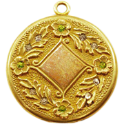 SALE PENDING Gorgeous Vintage S. O. Bigney Locket with Sparkly Rhinestones and 14K Gold-Plate