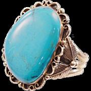 Incredible Vintage Jerry Roan Navajo Cuff - HUGE HUGE Turquoise!