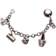Beautiful Vintage Italian .800 Silver Charm Bracelet - Etruscan Style