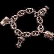 Gorgeous Etruscan Style .800 Silver Vintage Charm Bracelet