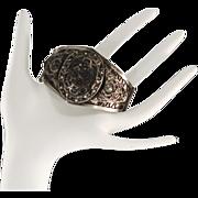 Unique and Exotic Antique Silver Arabic Cuff Bracelet