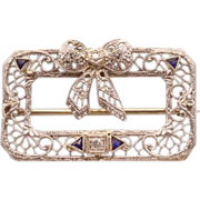 Stunning Vintage J.J. White 14K White Gold Brooch With Genuine Diamonds and Sapphires