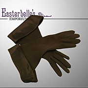 ca 1933-35 Couture Double-Woven Black Cotton Gloves with Satin Cuff