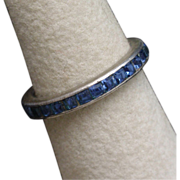 Trifari Sterling Silver Band Ring with Blue Channel Set Rhinestones Vintage
