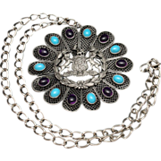 """Integrity and Industry 4"""" Pendant Necklace with Purple & Aqua Cabs Vintage"""