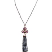 Iolite Trefoil Pendant Necklace with Tassel Sterling Silver Vintage