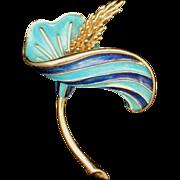 Boucher Hibiscus Flower Pin Vintage Enamel Brooch