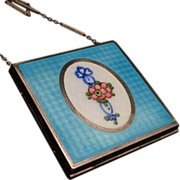 Silver and Enamel Compact Chain Strap Handle Vintage