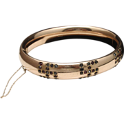 Good Luck Bangle Bracelet Victorian Gold Filled with Pastes