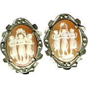 Three Graces Cameo Earrings 800 Silver Marcasite Clips Classical Motif