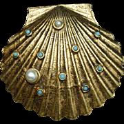 Jeweled Seashell Brooch Pin Optional Scarf Clip Vintage Art