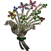 Antique Gemstone Floral Spray Brooch