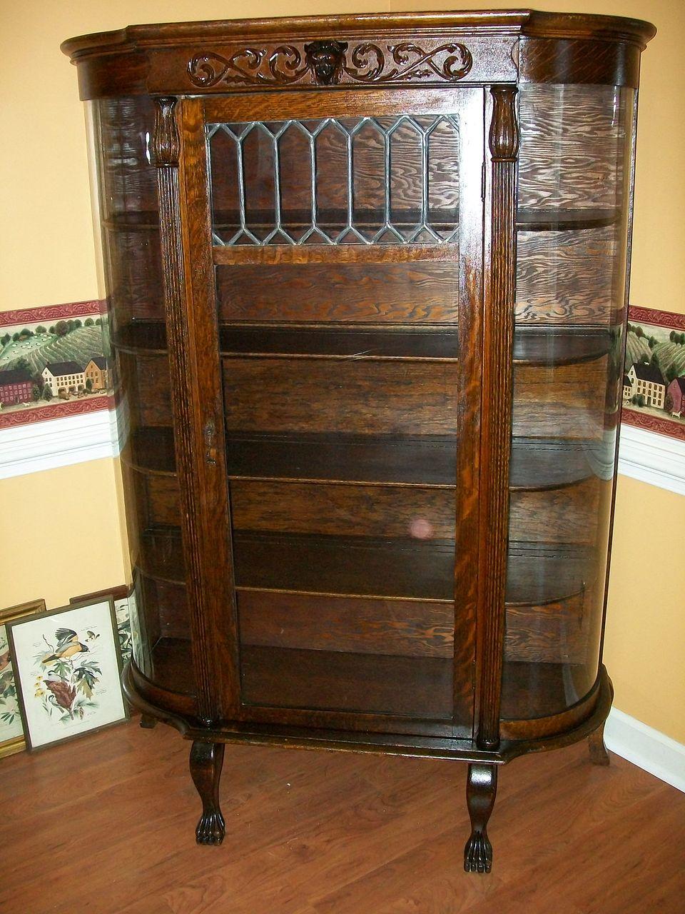 1890 S Golden Oak China Cabinet W Curio Top Southwest - Antique Oak Curved Glass China Curio Cabinet Bar Cabinet