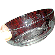 REDUCED Bowl, incised thistle, the symbol of Scotland