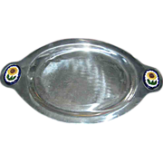 SALE Platter:aluminum, marked Hecho En Mexico, sunflower handles
