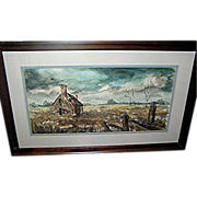 SALE Antique landscape painting of cabin in field by artist Ellen Pecora professionally framed