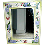 SALE Mirror: Shabby chic distressed white mirror, mosaic border