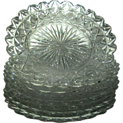 SALE Cut Glass plates Set of 7 matching