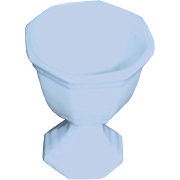 Small, opaue, white, vase standing just 2 1/2 inches high by 2 inches wide.