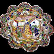 SALE Oriental Bowl: moriage:porcelain:tripod legs:fluted:Court Geishas