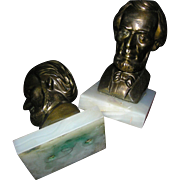 SALE Bookends: Lincoln Spelter metal on alabaster, 20th c.
