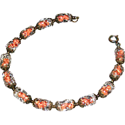venetian glass ladies bracelet with thirleen piece held in a charming cut-work vintage brass .